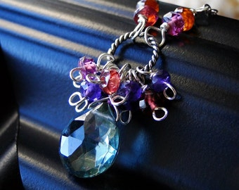 """Mystic Green Quartz Necklace, Sapphire and Amethyst Necklace on Sterling Silver - """"Vineyard"""" by CirceHouse on Etsy"""