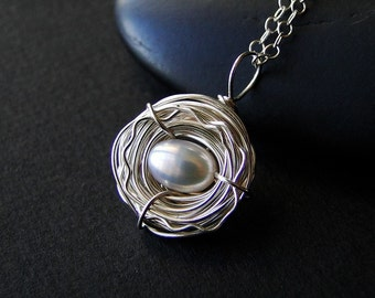 Bird Nest Necklace with Freshwater Pearl on Sterling Silver - Only Child by CircesHouse on Etsy