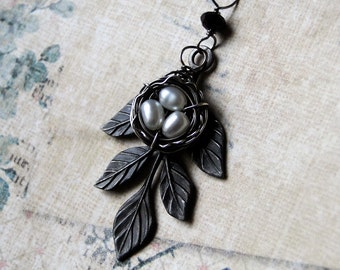 """Bird Nest Necklace- Pearl Necklace with Leaf on Oxidized Sterling Silver - """"Raven's Nest"""" by CircesHouse on Etsy"""