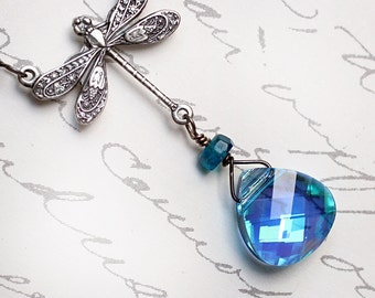 Swarovski Crystal Necklace, Dragonfly Necklace with Gemstones - Cloud Dragon by CircesHouse on Etsy