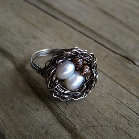 Twins Bird Nest Ring in Oxidized Silver with Leaf Accents on Etsy by CircesHouse--Ivory Pearls