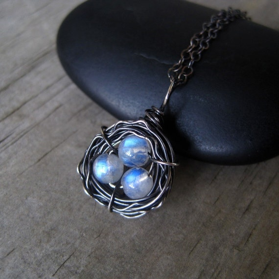 """Rainbow Moonstone Necklace, Bird's Nest Necklace and Oxidized Sterling Silver--""""Phoenix"""" by CircesHouse on Etsy"""