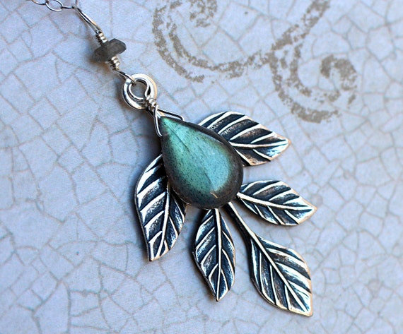 "Labradorite Necklace, AAAA Grade Labradorite with Leaf Accent--CircesHouse on Etsy, ""Lorien"""