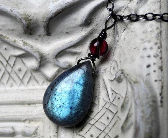 "Labradorite Necklace, Garnet Necklace on Oxidized Sterling Silver--CircesHouse on Etsy, ""Briar Rose"""