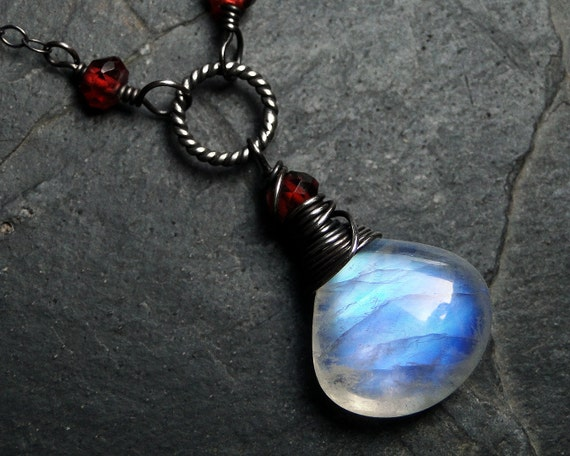 Rainbow Moonstone Necklace, Garnet Necklace on Oxidized Sterling Silver - Scarlet Moon by CircesHouse on Etsy