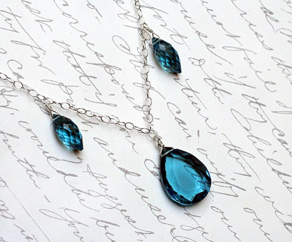 London Blue Quartz Necklace on Sterling Silver - Danube by CircesHouse on Etsy