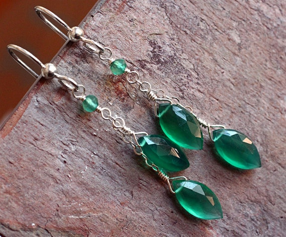 Green Chalcedony Earrings on Sterling Silver - Tropic by CircesHouse on Etsy