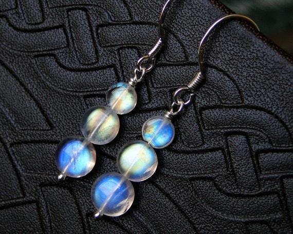 Moonstone Earrings, Rainbow Moonstone Earrings, AAAA Grade, Sterling Silver--CircesHouse on Etsy--Full Moons