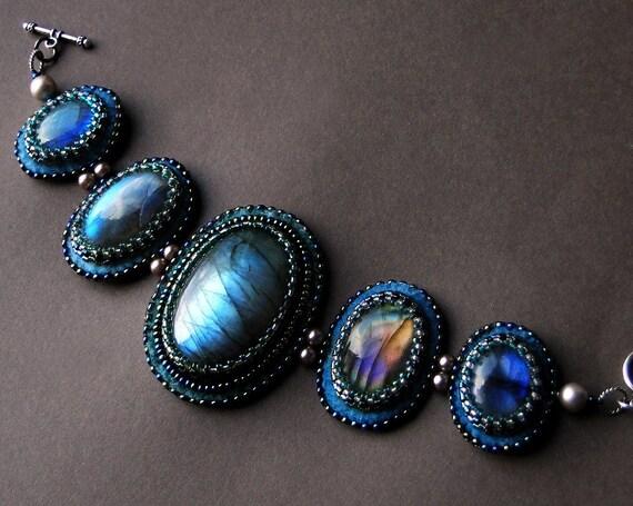 Labradorite cuff bracelet bead embroidered by circeshouse