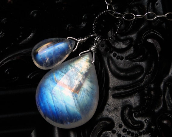 Rainbow Moonstone Necklace, AAAA Grade Moonstone on Sterling Silver - Two Moons by CircesHouse on Etsy