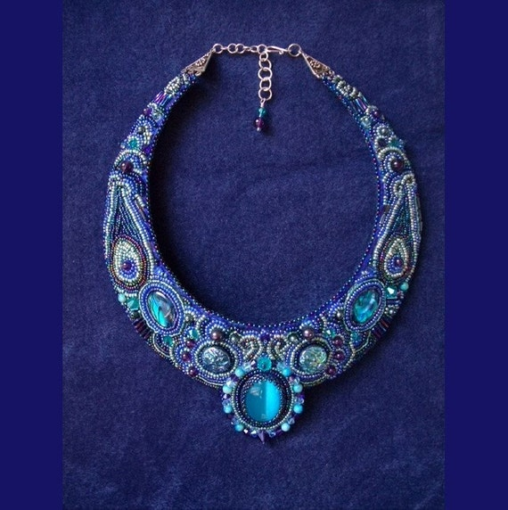 Salome Bead Embroidered Necklace--Luxury Bead Embroidery by CircesHouse