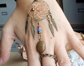 Bohemian Dreamcatcher Slave Bracelet Boho Hippie Gold Stone Tribal Gypsy Antiqued Brass Twilight Dream Catcher Native American Inspired - PurpleFinchStore