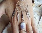 Peace Catcher Charoite  Bohemian Dreamcatcher  Bracelet Stone Hippie Tribal Silver Purple Native American Inspired