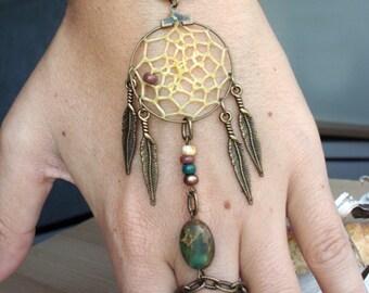 Peace Catcher Jasper Bohemian Dreamcatcher  Bracelet  Hippie  Tribal  Antiqued Brass   Native American Inspired