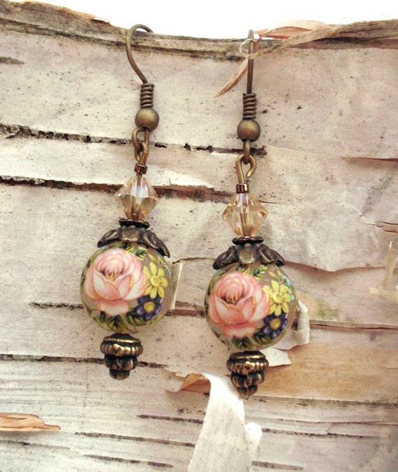 Vintage Styled Japanese Tensha Bead Pink Earrings