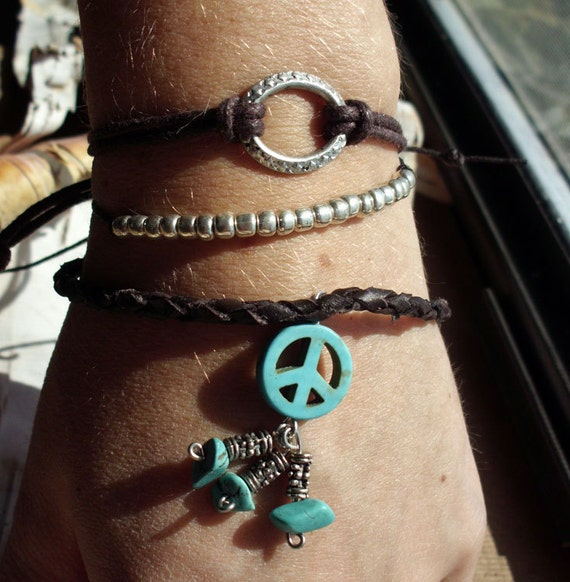 Bohemian Leather Silver Brown Turquoise Peace Sign Indian Bracelet Boho Hippie Adjustable Leather Set of Three