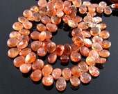 1/2 Strand AA Sunstone Smooth Polished Pear Briolettes 8mm - 10mm