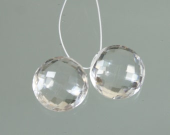 Pair of Pristine AAA Rock Crystal Quartz Faceted Coins
