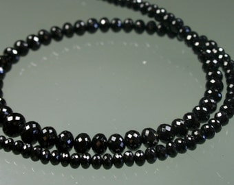 AAA Micro Faceted Black Spinel Rondelles 4mm - 5mm