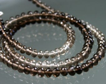 1/2 Strand Smokey Smoky Quartz Micro-Faceted Rondelles 5mm - 5.5mm