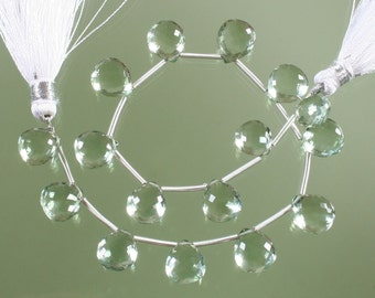 1/2 Strand Top Quality AAA Green Amethyst Micro Faceted heart Briolettes 8-11mm
