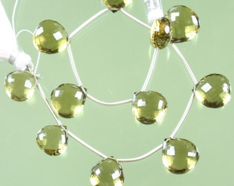 AAA Olive Quartz Faceted Heart Briolettes