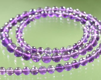 1/2 Strand Top Quality AAA Amethyst Micro-Faceted Rounds 3.5mm - 4.5mm