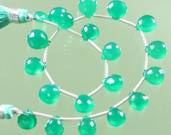 AAA Emerald Green Onyx Faceted Heart Briolettes 8mm - 11mm