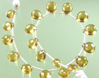 1/2 Strand of TOP QUALITY AAA Honey Quartz Micro-Faceted Heart Briolettes
