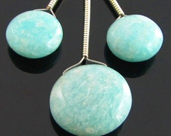 Amazonite Smooth Coin Briolette Trio