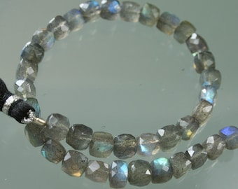 1/2 Strand Blue Flash Labradorite Faceted Cubes