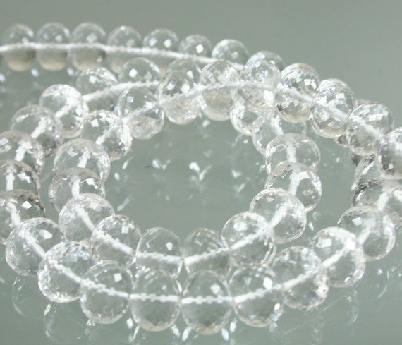 1/2 Strand AAA Rock Crystal Quartz Micro-Faceted Rondelles 9mm