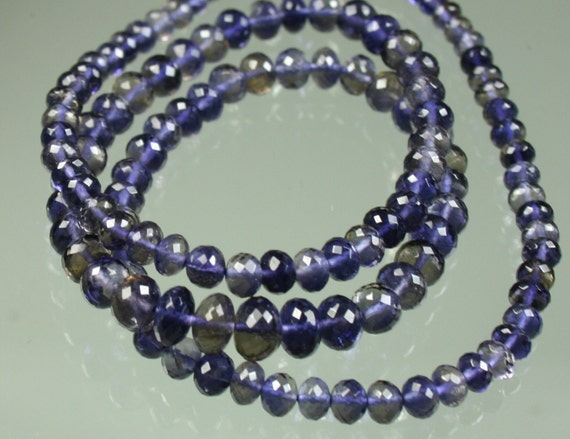 1/2 Strand AA Micro-Faceted Iolite MicroFaceted Rondelles 3mm - 5mm