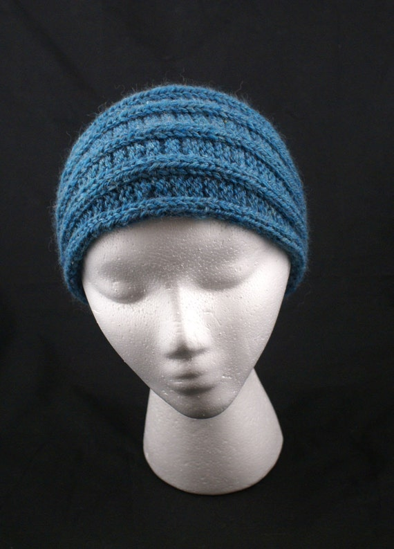 Knit Ribbed Headband Headwrap Ear Warmer in Peacock Teal Wool