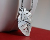 Anatomical Heart Oxidized Sterling Silver Pendant - by Markhed