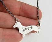 Sterling Silver Dachshund Dog Love Necklace - 5 dollars of every purchase goes to the SPCA