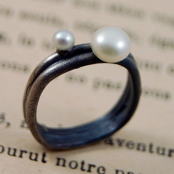 Anoush Silver and Two Pearl Ring by markhed