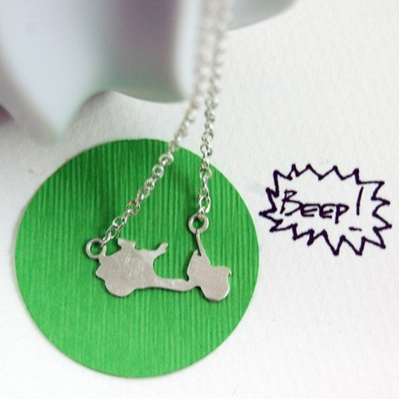 Beep Beep Sterling Silver Scooter Necklace by Markhed - Made To Order allow 5 days before shipping -