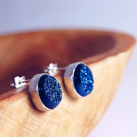 Midnight Blue Sparkle Drusy Sterling Silver Stud Earrings