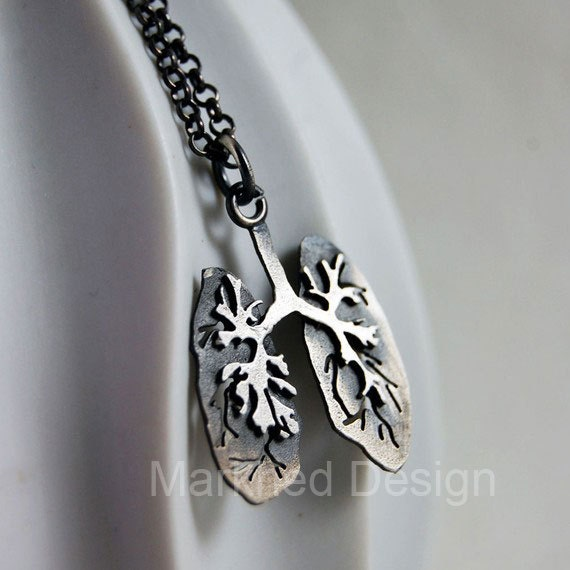Just Breathe, Handmade Sterling Silver Lungs Necklace