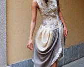 Cornetto Farcito Dior -- playful, unique, fashionable printed shantung silk dress