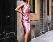 Fragoline di bosco-- elegant, silk, origami inspired pink dress.