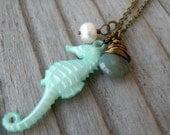Seahorse Necklace, Nautical, Green, Sea, Ocean, Beach Jewelry