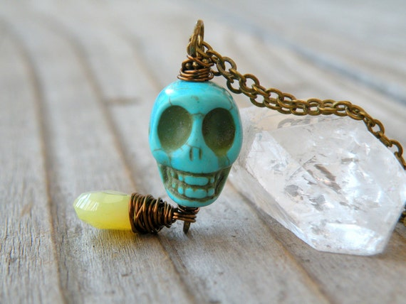 Turquoise Skull Necklace, Gemstone, Chalcedony, Long Necklace