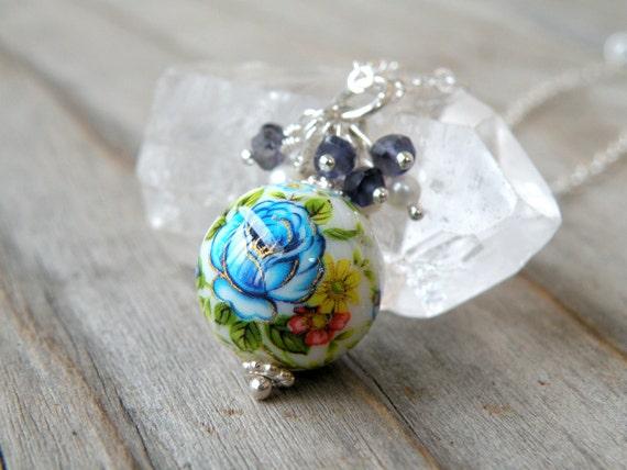 CIJ Sale 30% Off - Tensha Necklace, Gemstone, Iolite, Vintage Chic Jewelry