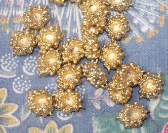 Gold Nugget Beads-Center Will Hold  3.5 mm Stone-(20)