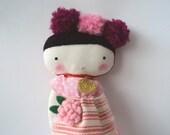 Folk rag doll - cloth art doll with pompoms