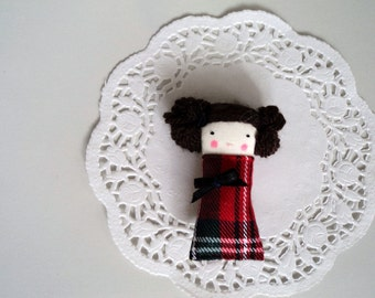 brooch lady tartan pin miniature doll made to order
