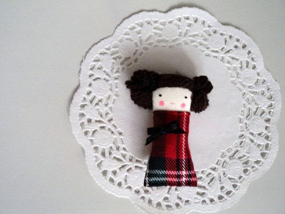 brooch lady tartan pin miniature doll made to order