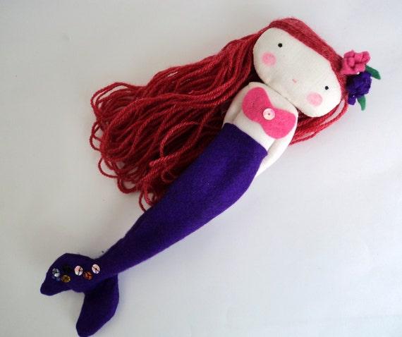 little mermaid rag doll - fairy tale princess doll cloth ariel siren